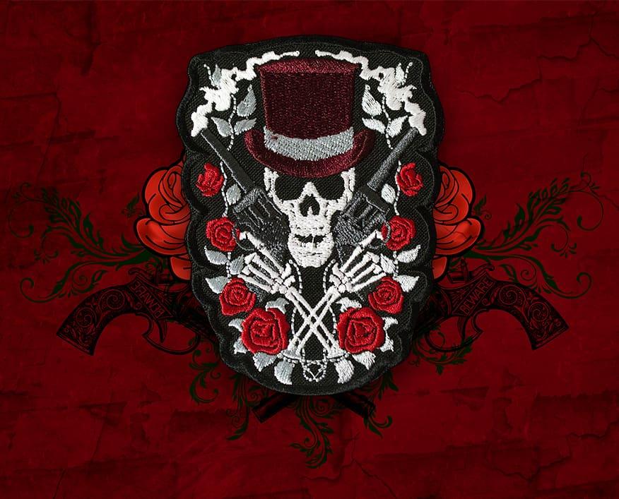 Rose Skull with Guns